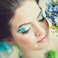 макияж для свадьбы в нежных весенних зелёно-голубых оттенках