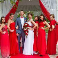 Невеста. жених и подружки в красном