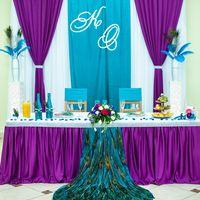 Свадебное оформление с перьями павлина
