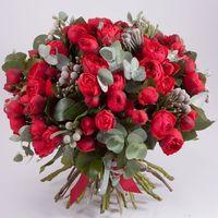 роза кустовая пионовидная, бруния, эвкалипт. Стоимость 5000р