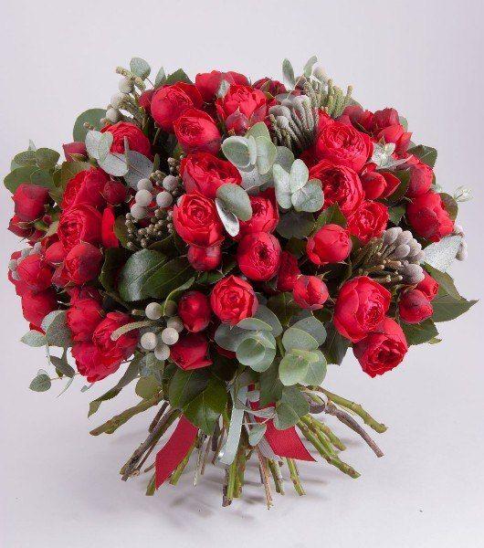 роза кустовая пионовидная, бруния, эвкалипт. Стоимость 5000р - фото 17607920 Цветочная мастерская Екатерины Ширяевой