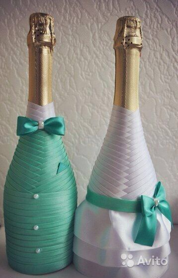 Отделка шампанского на свадьбу лентами мастер класс