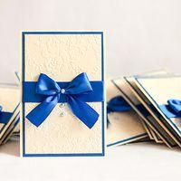 Приглашение ручной работы на синюю свадьбу