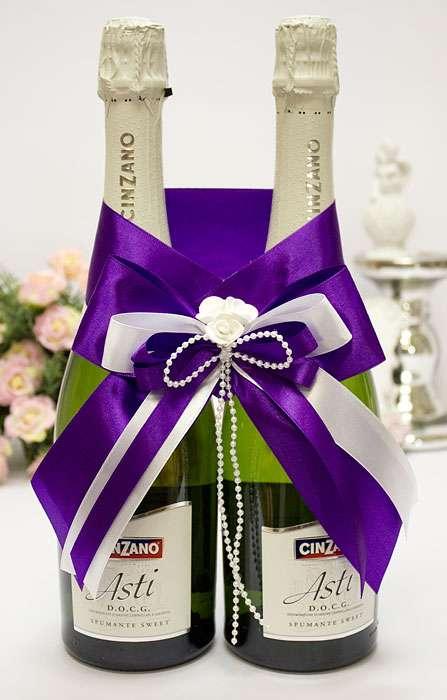 Лента на бутылку шампанского на свадьбу своими руками