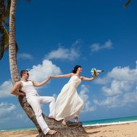 жених и невеста, съемка в Доминикане,  пляж Макао, океан, улыбка, любовь, счастье, молодость, свадьба, пальма