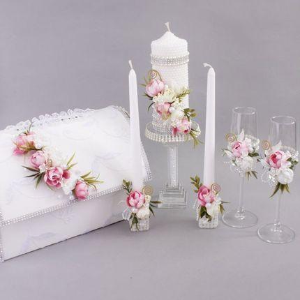 Свадебный набор Утренний рассвет (6 предметов), розовые пионы