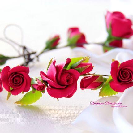 Веночек с цветами из полимерной глины