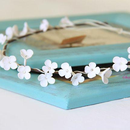 Свадебный веночек с цветами ручной работы