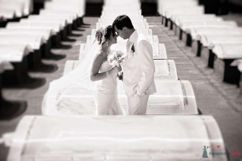 Жених и невеста стоят, прислонившись друг к другу, в ряде белых столов - фото 49439 Свадебные аксессуары by Оксана Karamelnaya