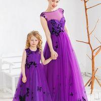 Платье слева: Артикул: Ирен фатин бабочки детское фиолет. Материал: Фатин. Стоимость: 21.000 р.  Платье справа: Артикул: Ирен фатин бабочки взрослое фиолет. Материал: Фатин. Стоимость: 53.000 р.