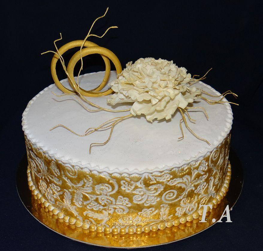 Фото торт для золотой свадьбы