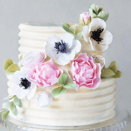 Торт с анемонами и пионами, цена за 1 кг