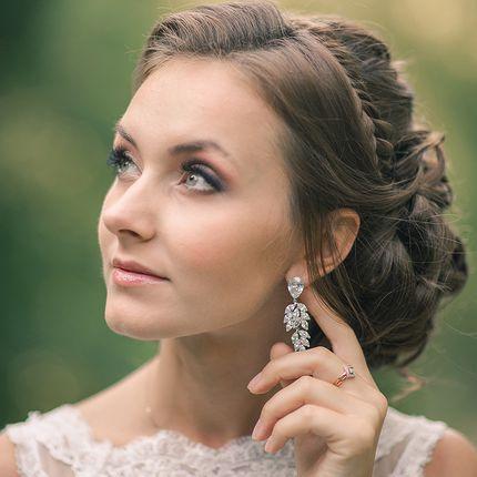 Серьги для невесты с цирконами