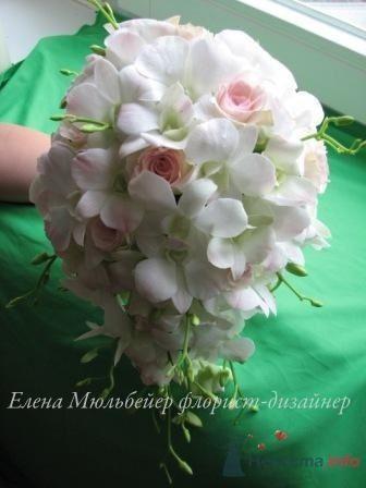 Букет из нежно-розовых дендробиумов и роз - фото 30704 Цветочная мастерская Флорины