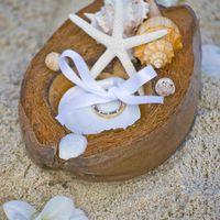 Кокосовая кожура, украшенная морскими ракушками для колец.