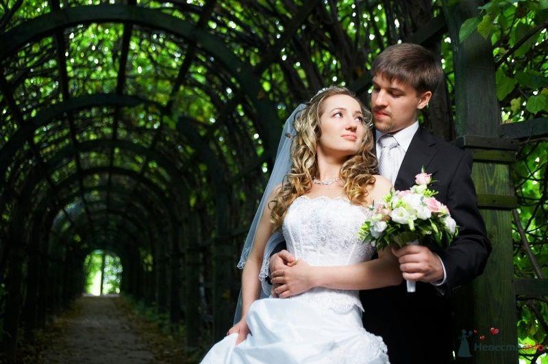 Жених и невеста, прислонившись друг к другу, стоят на фоне деревьев - фото 63033 Anastasiya