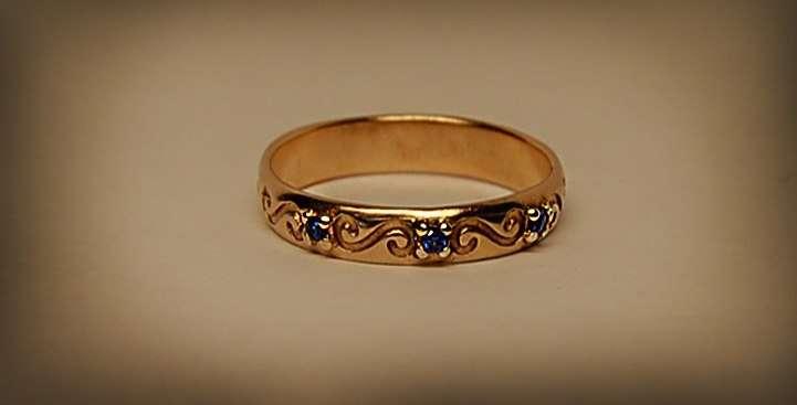 """Обручальное кольцо с сапфирами - фото 3739447 Ювелирная дизайн студия """"Золотая Роскошь"""""""