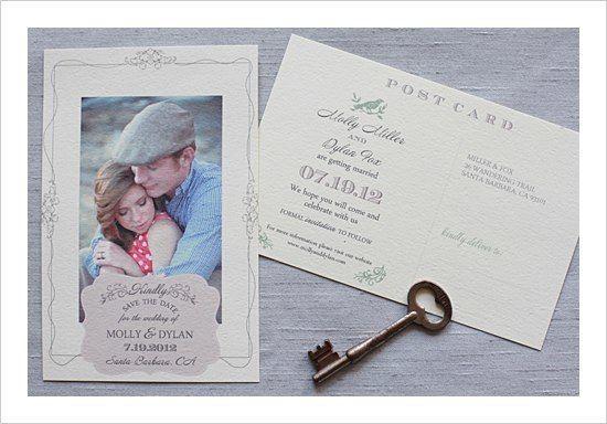 Днем, приглашения на свадьбу в виде почтовой открытки