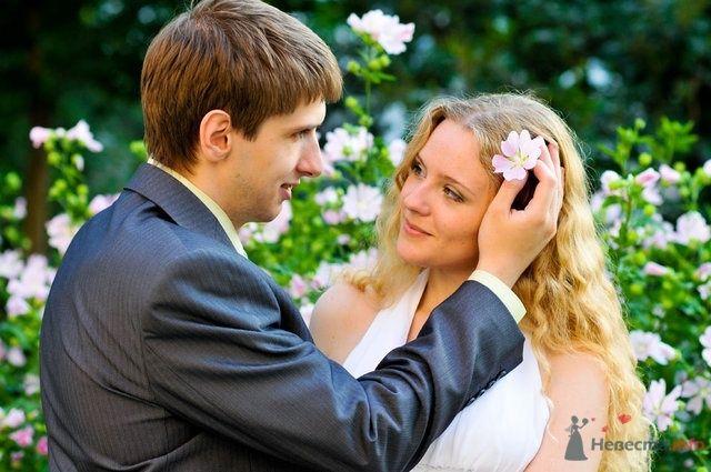 Жених и невеста, прислонившись друг к другу, стоят на фоне зелени и цветов - фото 32807 Невеста01