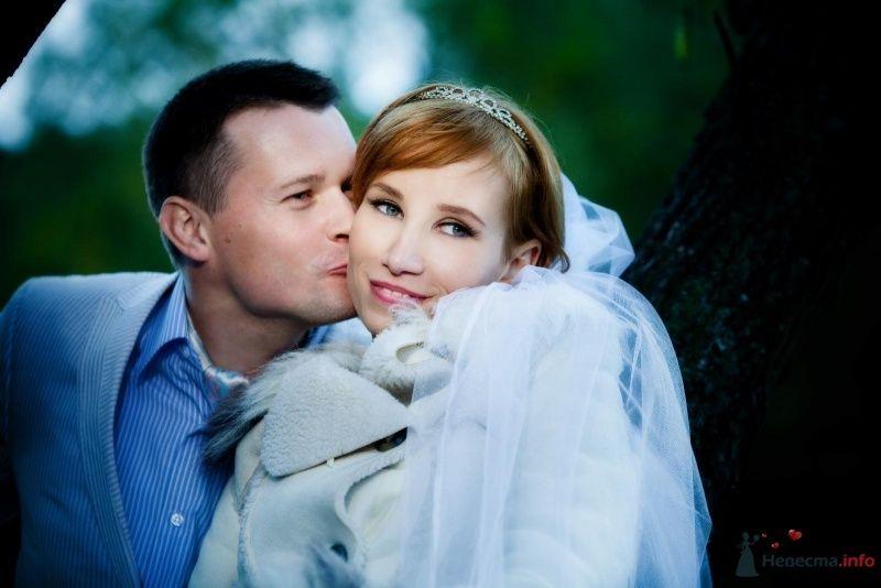 Жених и невеста, прислонившись друг к другу, стоят на фоне дерева - фото 62712 Нонсенс