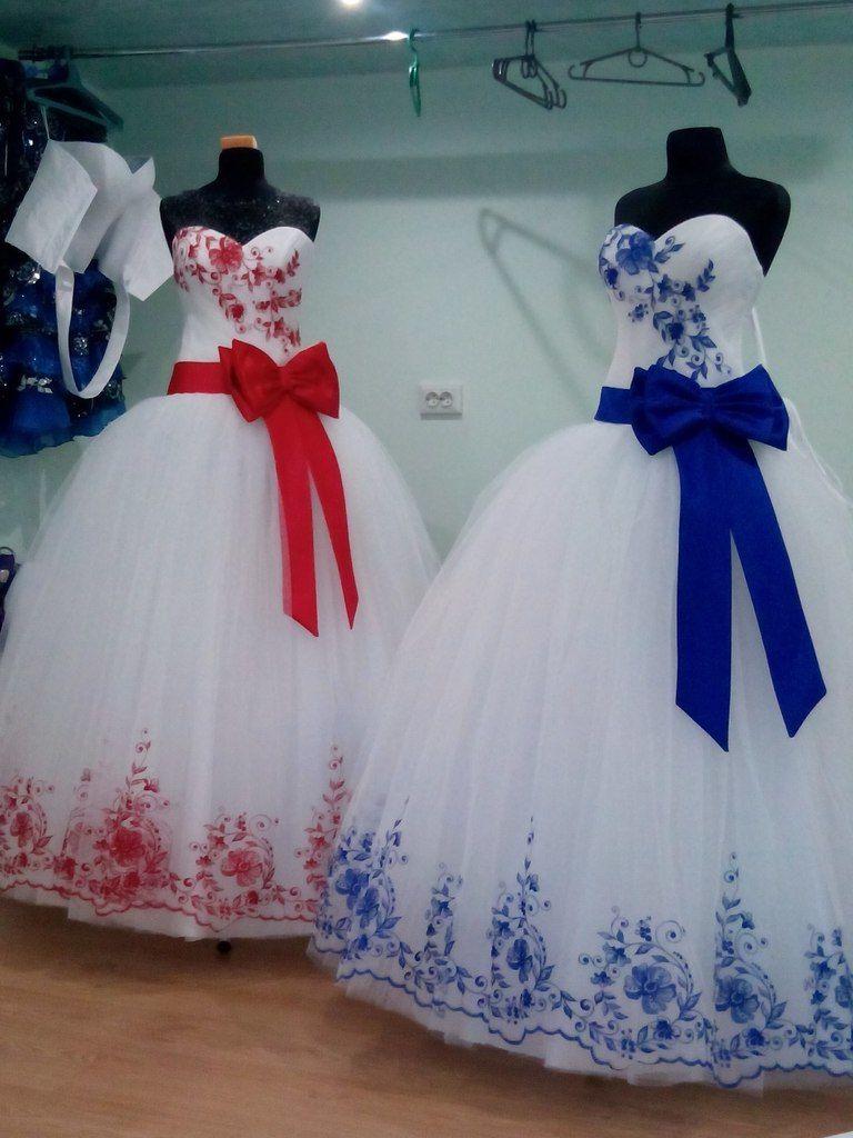 Платье свадебное цветные