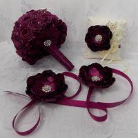 """Комплект свадебных аксессуаров:  букет-дублер, подушечка для колец, браслеты для подружек невесты (свадьба в стиле """"Перо павлина"""")"""