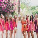 подружки, платья, букет, образ, розовый, коралловый, фуксия, оранжевый