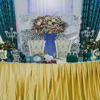 Главный стол для молодых в бирюзово-золотой гамме