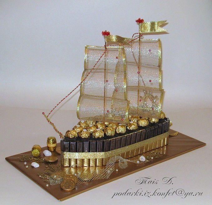 Торт из конфет корабль своими руками