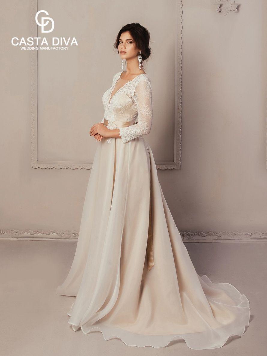 Свадебное платье А-силуэт, мокко