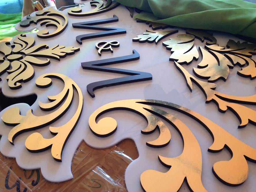 """Разработка и изготовление любых декоративных конструкция для оформления торжества. На фото фрагмент семейного вензеля по заказу агентства торжеств """"Vista""""/ - фото 4878291 Мастерская декора Роенко Натальи"""