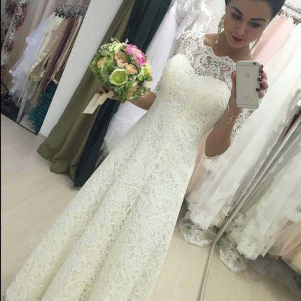 Кружевное свадебное платье с рукавами Инесса