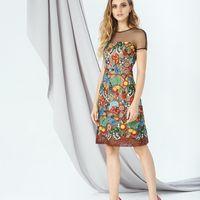 Модель EMSE 0264 Коктейльное платье прилегающего силуэта длинной выше уровня колена. Верх платья с горизонтальной кокеткой из сетки переходящей в короткий рукав реглан. Основа платья короче кружевного слоя. Вырез горловины круглый. В среднем шве спинки –