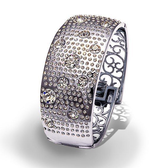 Браслет Parisienne grand rhodium crystal Покрытие - родий Вставки: кристаллы Swarovski   - фото 5089137 Ювелирный салон Mademoiselle Jolie Paris