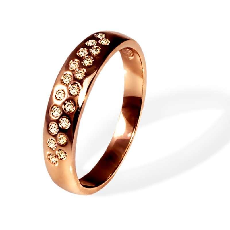 Кольцо Parisienne jour gold silk Покрытие - золото 585 пробы Вставки - кристаллы Swarovski Размеры 16-19   - фото 5089193 Ювелирный салон Mademoiselle Jolie Paris