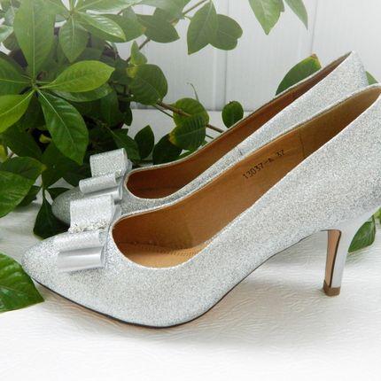 Серебрянные свадебные туфли