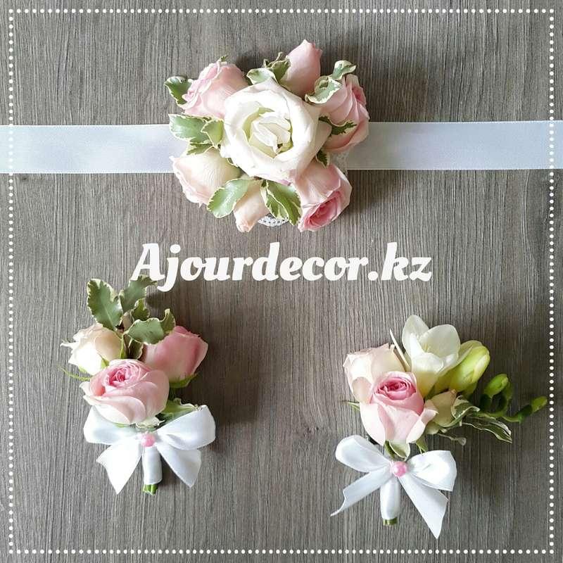 Свадебные аксессуары - 2 бутоньерки для дружки и жениха, браслет для подружки невесты - фото 5119117 Ajour Decor - Студия свадебного оформления