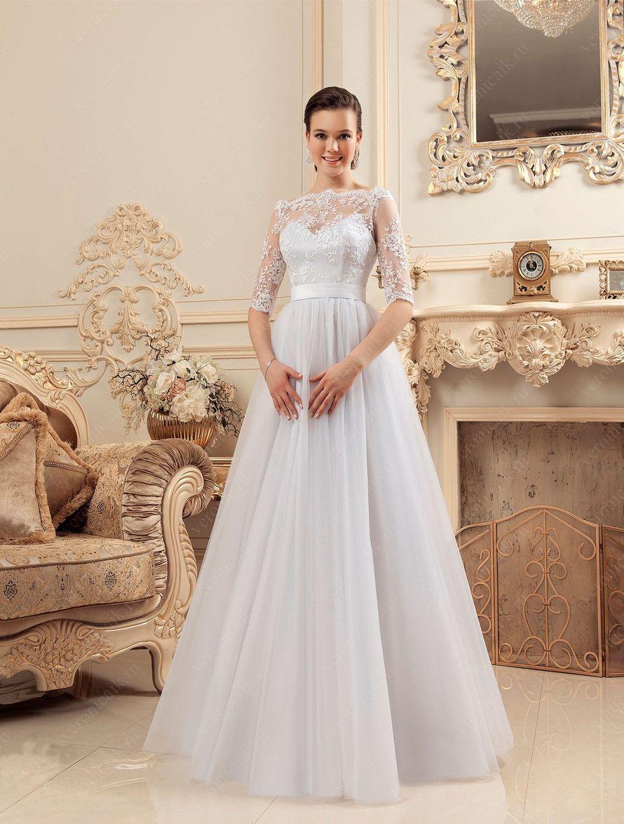 147e4b575df Фабия (VK) Стильная модель свадебного платья классического а-силуэта.  Удобный корсет с