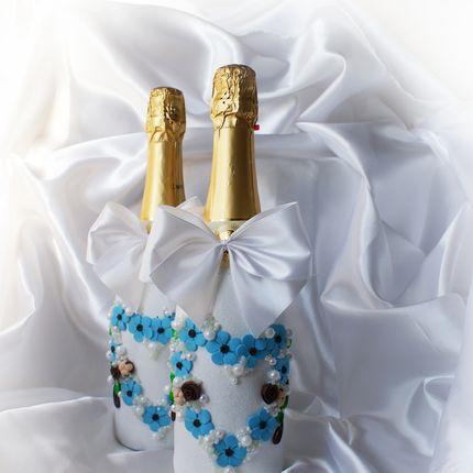 """Свадебное оформление бутылок """"Шоколадные небеса"""""""