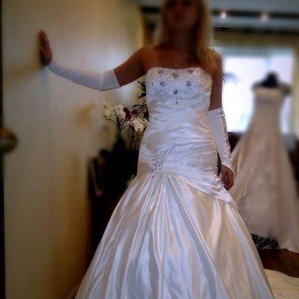 Платье из сатина в молочном цвете