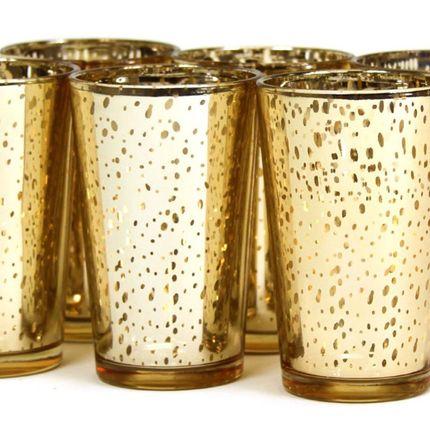 Аренда подсвечника стеклянного золотого, цена за 1 шт