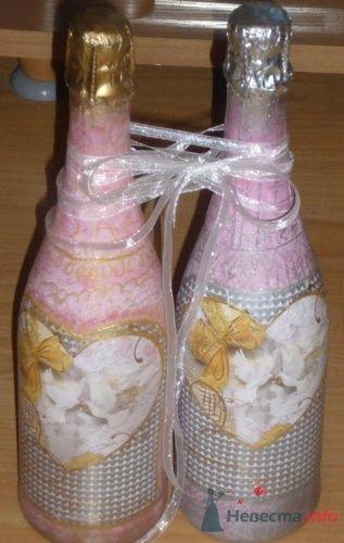 Декор шампанского на свадьбу в розовых тонах. - фото 858 Cвадебная полиграфия