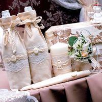 Мешочки для шампанского и домашний очаг для кружевной свадьбы.