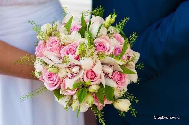 Букет невесты , орхидеи , роза , альстроиерия , эустома , белый , розовый . - фото 10007678 Флорист Светлана Плотникова