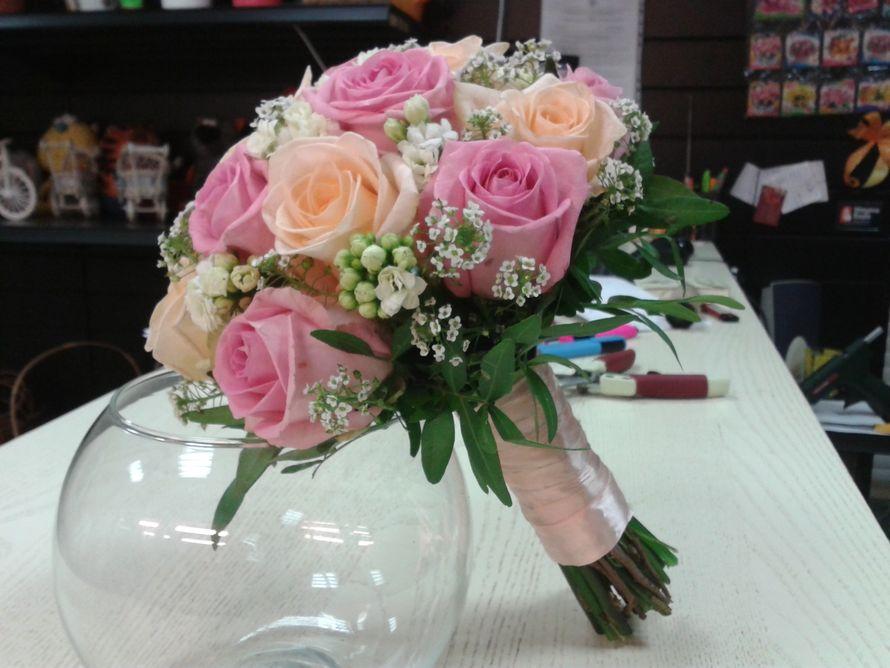 Букет невесты , роза , айвори , белый , розовый . - фото 10007680 Флорист Светлана Плотникова