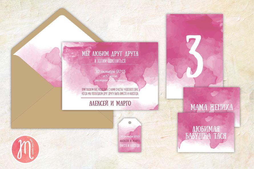 """Набор свадебной полиграфии """"Вишневая акварель"""" - фото 7098894 Maltina Maria - свадебная и праздничная полиграфия"""