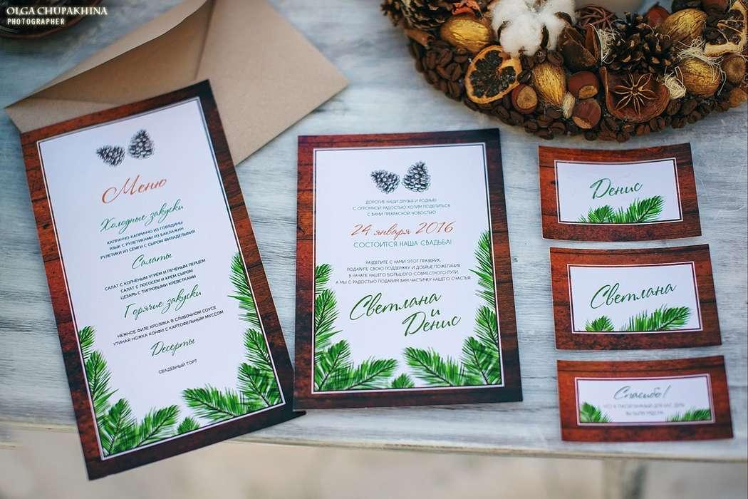 Набор свадебной полиграфии - Зима Шишки Ветви ели - фото 9423856 Maltina Maria - свадебная и праздничная полиграфия