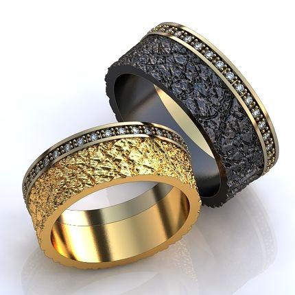 Обручальные кольца фактурные со вставками