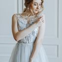 Голубое свадебное платье. Визажист стилист Вероника Виноградова
