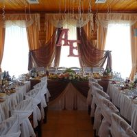 Оформление стола жениха и невесты. Монограмма